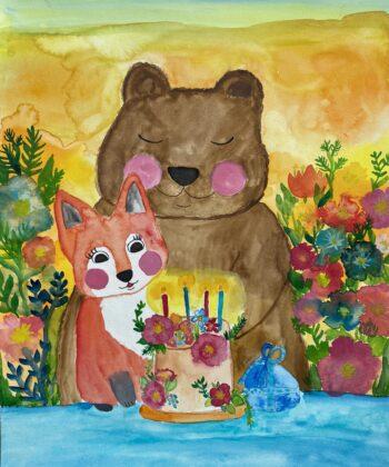 Fødselsdagskort med Tjugga og Sally