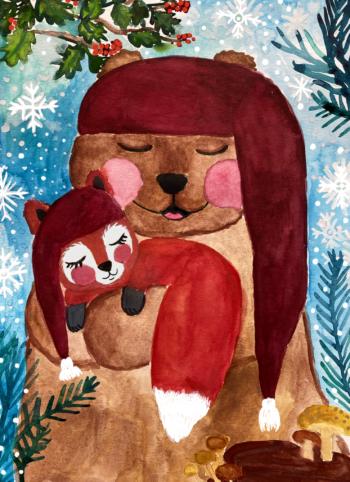 Julekort Tjugga og Sally